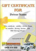 BRT Driving School gift certificates